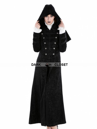 Punk Rave Black Gothic Military Style Long Hoodie Cape Coat For Women