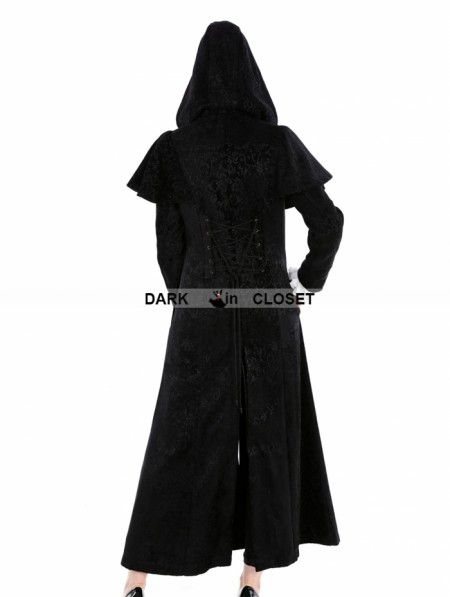 Pentagramme Black Gothic Military Style Long Hoodie Cape Coat For ...