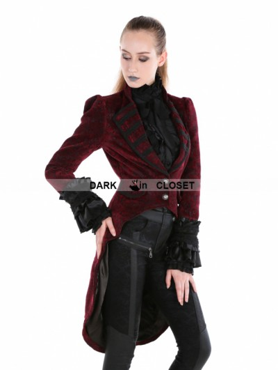 Punk Rave Red Gothic Palace Style Velvet Coat For Women