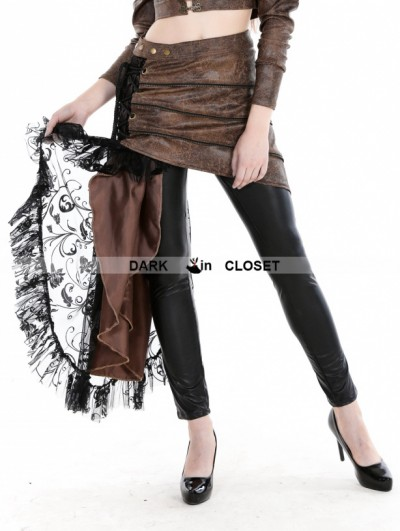 Punk Rave Coffee Steampunk PU Skirt with Lace Side