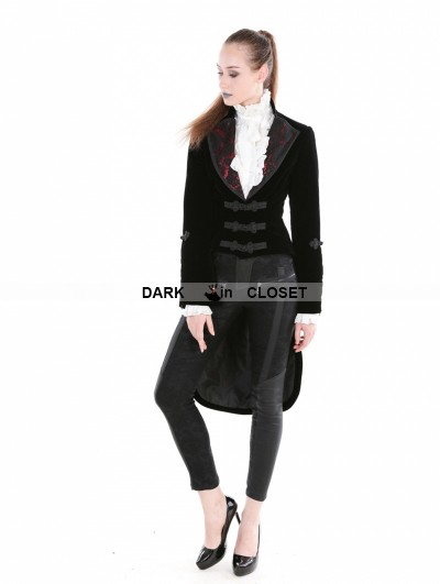 Punk Rave Black Gothic Velvet Vintage Coat For Women