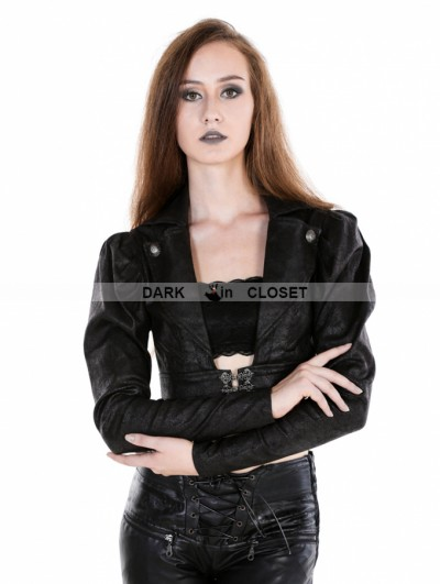 Punk Rave Black Gothic Midriff Top For Women