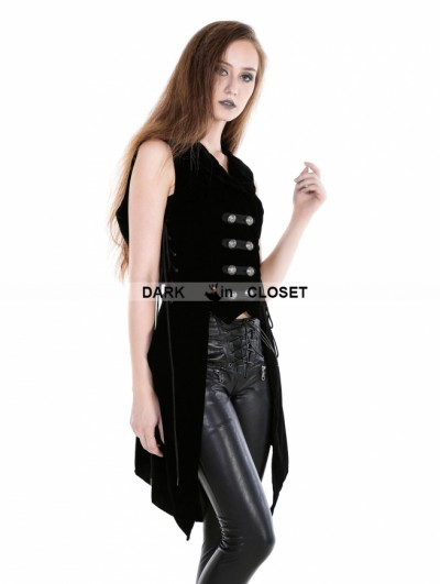 Punk Rave Black Gothic Military Womens Long Vest with Hood