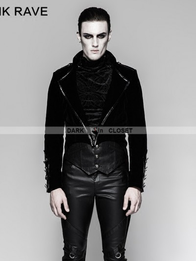 Punk Rave Black Gothic Military Uniform Gorgeous Swallow-tail Jacket for Men