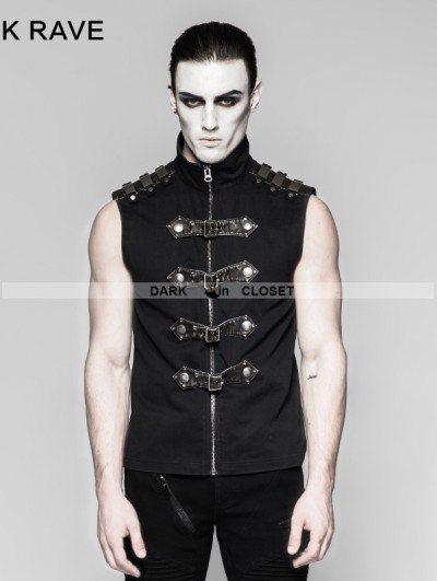 Punk Rave Black Gothic Punk Armour Sleeveless Shirt for Men