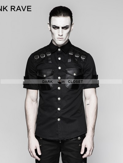 Punk Rave Black Gothic Handsome Military Uniform Short Sleeve Shirt for Men