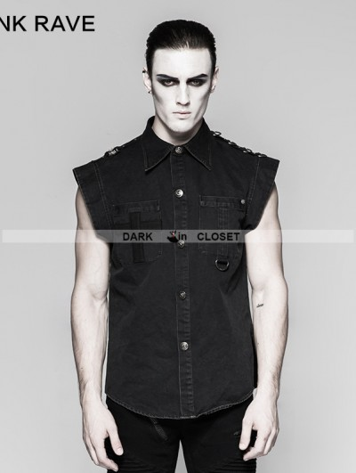 Punk Rave Black Gothic Punk Military Style Minimalist Flying Sleeve Shirt For Men