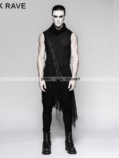 Punk Rave Black Gothic Small Stand Collar Heavy Punk Tassel Sleeveless Vest for Men
