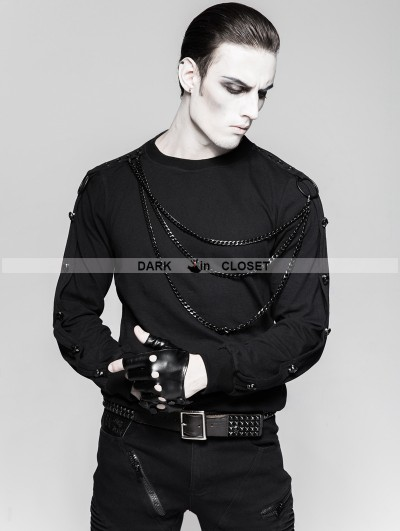 Punk Rave Black Gothic Military Uniform Heavy Punk Long Sleeve Shirt for Men