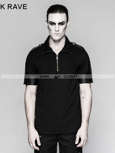 Punk Rave Black Gothic Military Uniform Sniper T-Shirt for Men