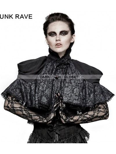 Punk Rave Black Lace Gothic Lolita Style Cape for Women