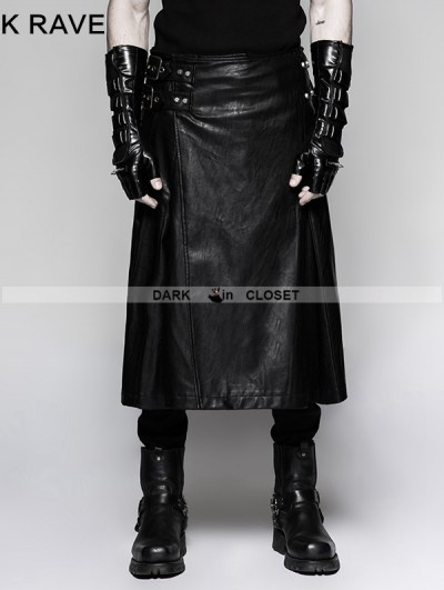 Punk Rave Black Gothic Punk Mens Simple Skirt with Waistbag
