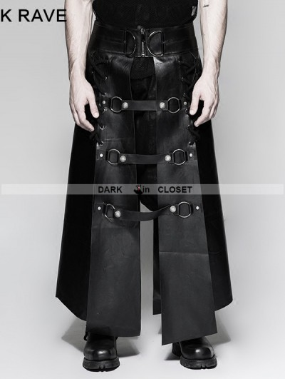 Punk Rave Black Gothic Punk Six Pieces Male Skirt for Men