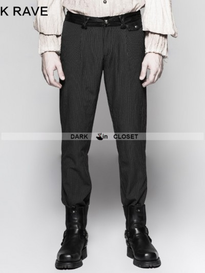 Punk Rave Black Pinstripe Simple Steampunk Trousers for Men
