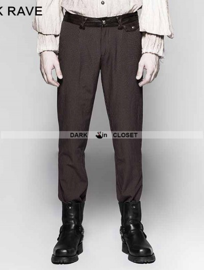Punk Rave Coffee Pinstripe Simple Steampunk Trousers for Men