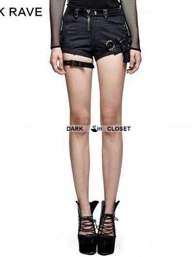 Punk Rave Spliced Dark Stripes Gothic Punk Shorts for Women