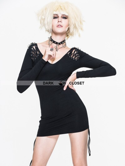 Devil Fashion Black Gothic Punk Rivet Shirt for Women