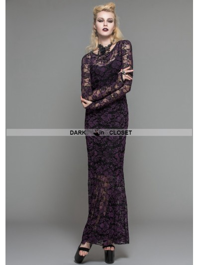 Devil Fashion Purple Lace Romantic Gothic Long Dress