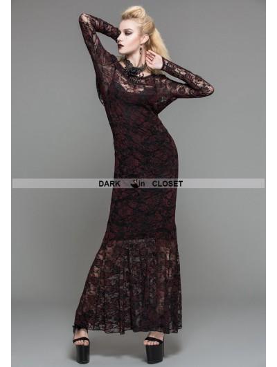 Devil Fashion Red Lace Romantic Gothic Long Dress