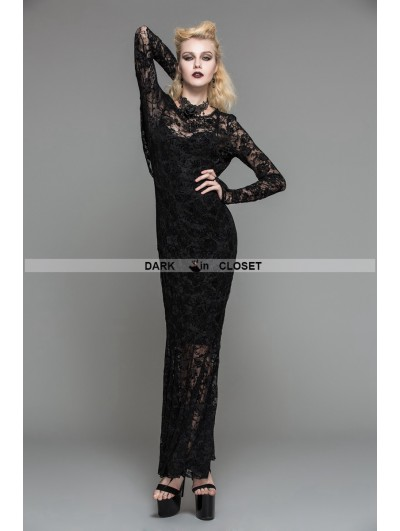 Devil Fashion Black Lace Romantic Gothic Long Dress