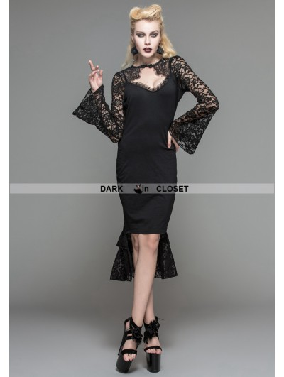 Devil Fashion Black Gothic Pencil Midi Dress with Lace Sleeves