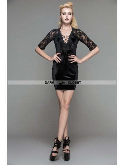 Devil Fashion Black Velvet Half Sleeves Lace Short Dress