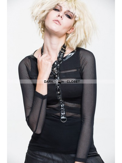 Devil Fashion Black Gothic Punk Net Shirt for Women