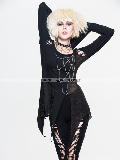 Devil Fashion Black Gothic Punk Chain Shirt for Women