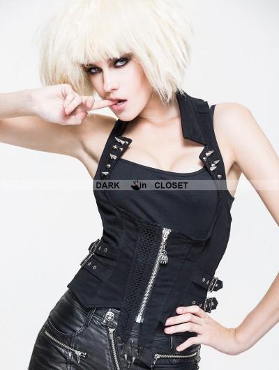 Devil Fashion Black Gothic Punk Rivet Waistcoat for Women
