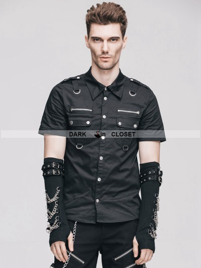 Devil Fashion Black Handsome Gothic Punk Short Sleeves Shirt for Men