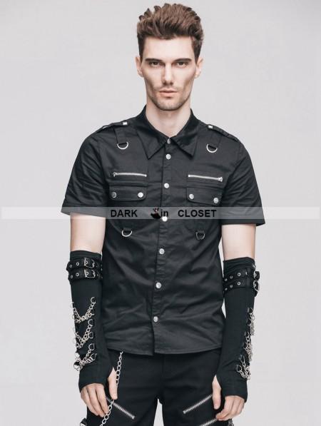 Devil Fashion Black Handsome Gothic Punk Short Sleeves