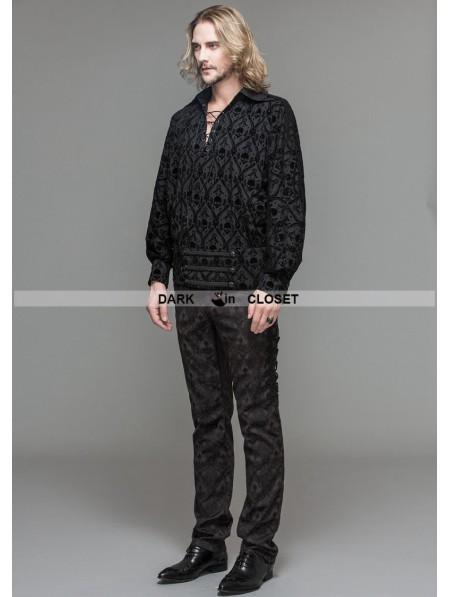 Devil Fashion Black Gothic Medieval Style Shirt For Men