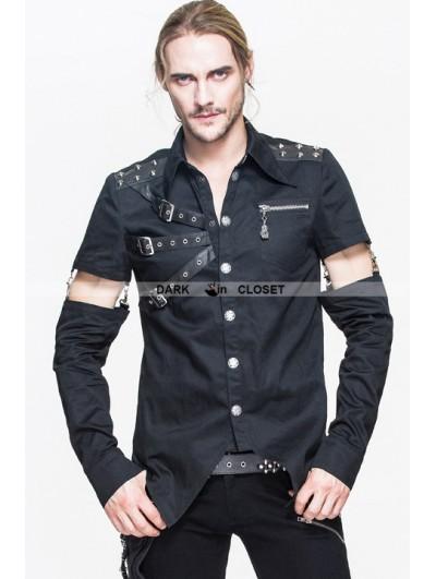 Devil Fashion Black Gothic Punk Mens Shirt with Detachable Sleeves
