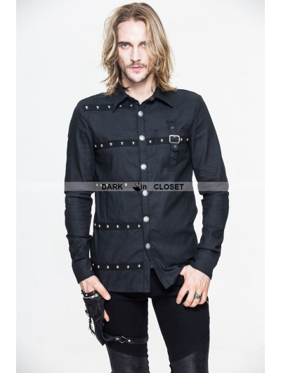 Devil Fashion Black Gothic Punk Long Sleeves Blouse for Men