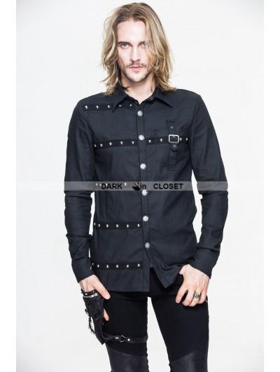 Devil Fashion Black Gothic Punk Long Sleeves Blouse for Men