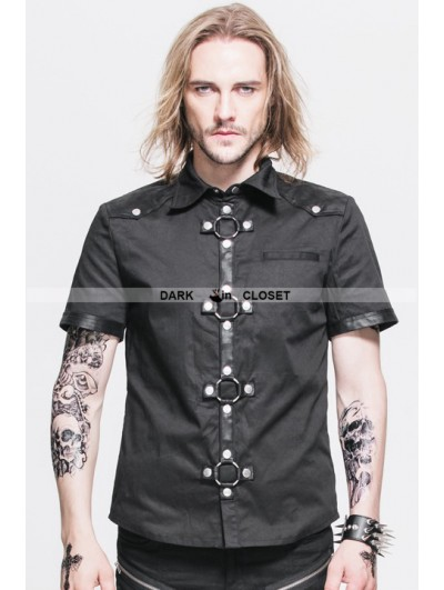 Devil Fashion Black Gothic Punk Short Sleeves Shirt for Men