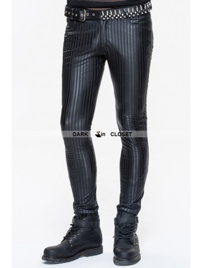 Devil Fashion Black Gothic Stripe Trousers for Men