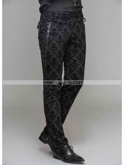 Devil Fashion Black Gothic Vintage Palace Pattern Trousers for Men