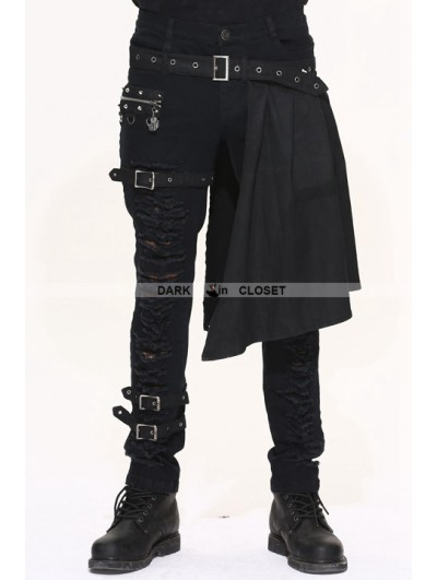 Devil Fashion Black Gothic Punk Removable Skirts Trousers for Men