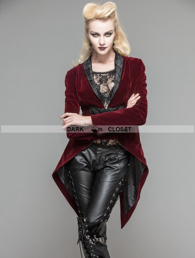 Devil Fashion Wine Red Velvet Gothic Swallow Tail Jacket for Women