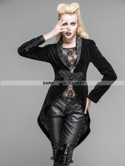 Devil Fashion Black Velvet Gothic Swallow Tail Jacket for Women