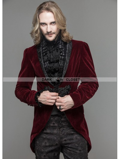 Devil Fashion Wine Red Velvet Gothic Swallow Tail Jacket for Men