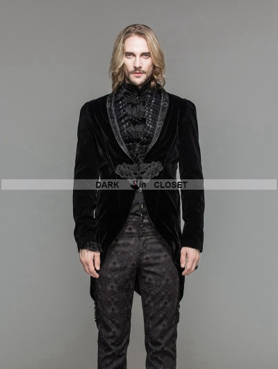 Devil Fashion Black Velvet Gothic Swallow Tail Jacket for Men