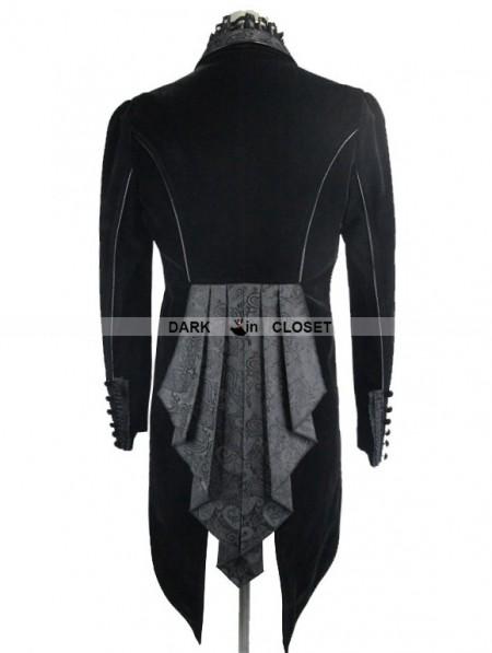 Devil Fashion Black Velvet Gothic Swallow Tail Jacket For