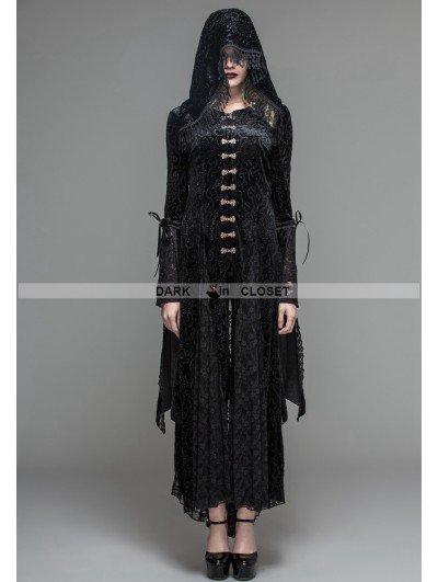 Devil Fashion Black Velvet Gothic Vampire Style Hooded Dress Jacket