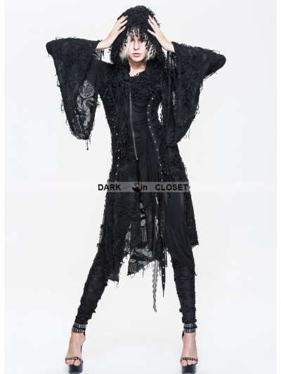 Devil Fashion Black Gothic Hooded Tassle Jacket for Women
