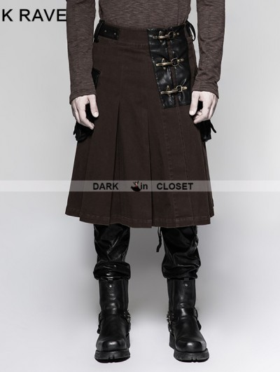 Punk Rave Coffee Steampunk Half Pleated Skirt for Men