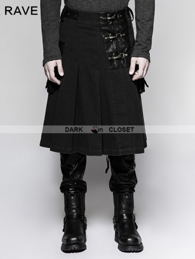 Punk Rave Black Steampunk Half Pleated Skirt for Men