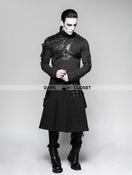 punk rave black steampunk half pleated skirt for men