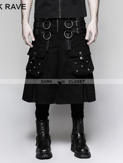 Punk Rave Black Gothic Dark Series Metal Warrior Skirt for Men
